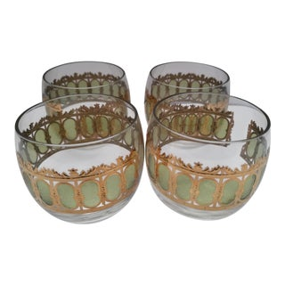 1960s Mid-Century Modern Culver Ltd. Gold and Green Valencia Roly Poly Glasses - Set of 4