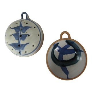 Blue & White Handmade Pottery Strainer and Bowl - a Pair For Sale