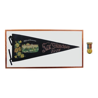 San Francisco Panama-Pacific Exposition of 1915 Souvenir Banner & Entrance Badge For Sale