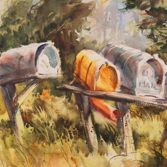 Impressionist 'Rural Route Mailboxes' by Jane Burnham, California Woman Artist, Society of Western Artists For Sale - Image 3 of 8