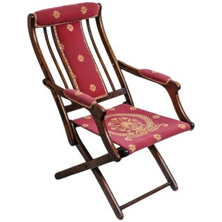 19th Century, French, Napoleonic Campaign Style Folding Chair For Sale