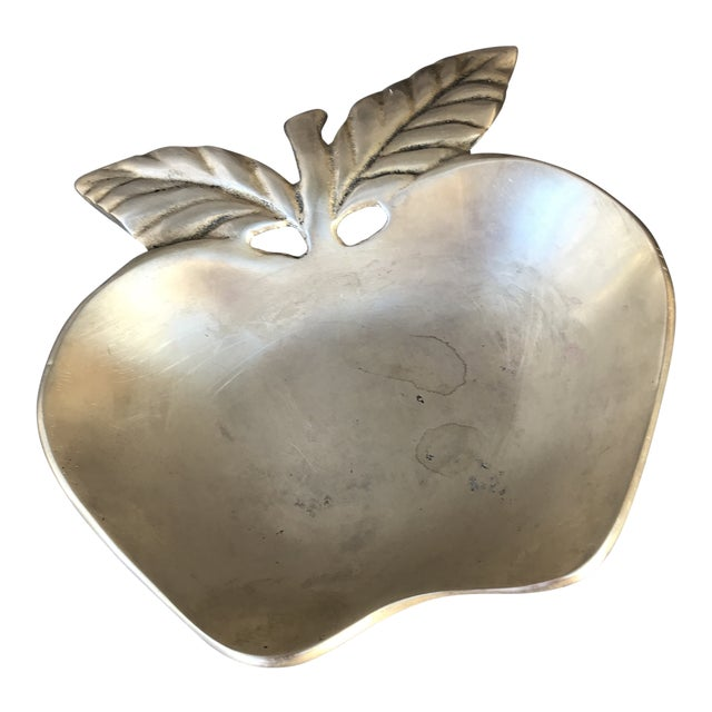 1960s Figurative Solid Brass Apple Catchall Trinket Dish For Sale