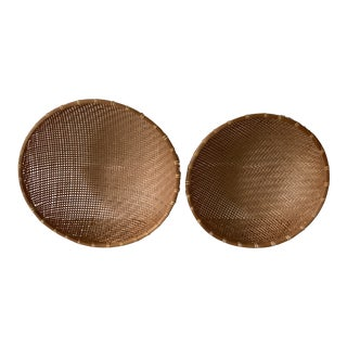 1970s Large Woven Gathering Nesting Baskets - a Pair For Sale