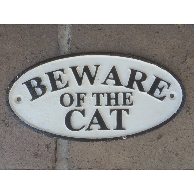 White & Black Cast Iron 'Beware of Cat' Sign - Image 2 of 3