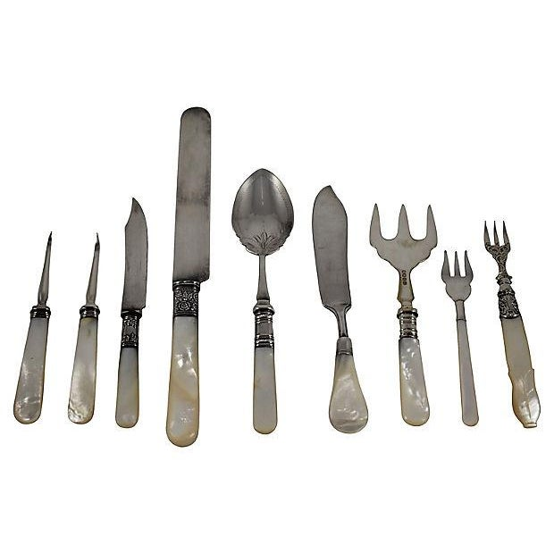 Assorted 19th -C. English Pearl Handled & Silver Serving Flatware, a Mixed S/9 For Sale - Image 12 of 12
