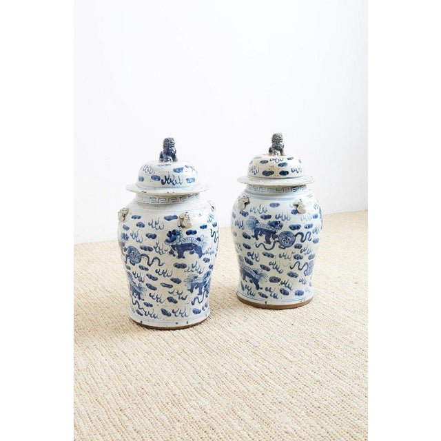 Pair of Chinese Blue and White Ginger Jars and Foo Dogs For Sale - Image 11 of 13