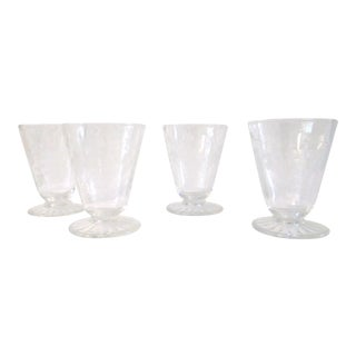 Mid-Century Modern Etched Grape Cordial Glasses - Set of 4 For Sale
