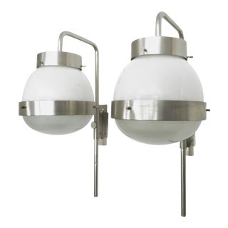 Sergio Mazza Italian Glass and NIckel Vintage Delta Sconces by Artemide - A Pair For Sale