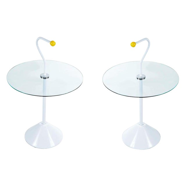 Pair Memphis White Enamel and Glass Side Tables With Handles For Sale