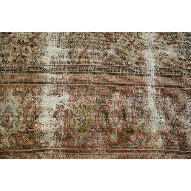 "Green Vintage Distressed Fragment Mahal Carpet - 7'2"" X 9'6"" For Sale - Image 8 of 12"