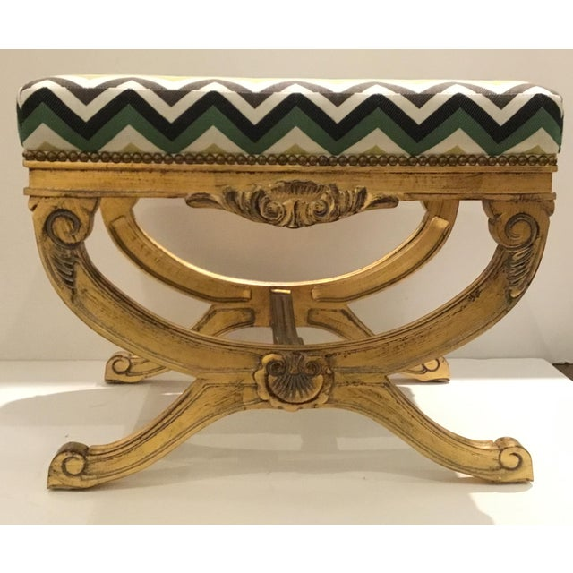 Stylish Currey & Co. Transitional Exmoor Benches Pair, elegant gold leaf finished bases, green, gold, black, white, and...