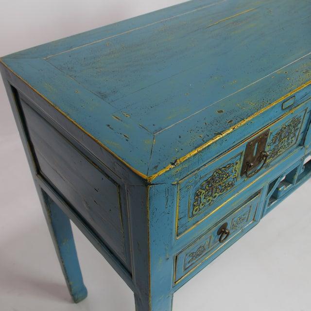 Antique Hand-Carved Blue Desk For Sale - Image 4 of 5