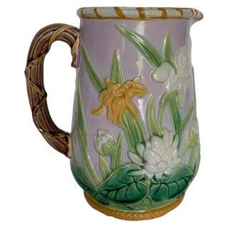 1875 George Jones Majolica Iris Pitcher For Sale