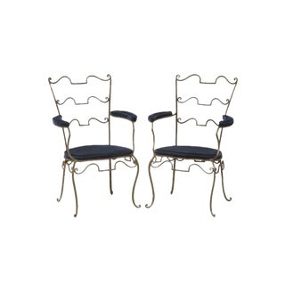 Original French '40s Wrought Iron Fauteuils att to René Prou - a Pair For Sale