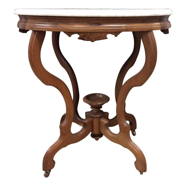 Marble Top Oval Table - Image 1 of 7