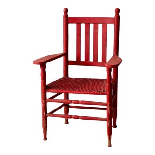 Antique Red Wicker Seat Arm Chair For Sale