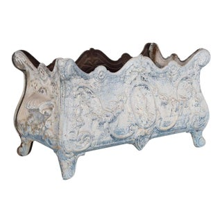 1950s French Blue and White Floral Cast Iron Planter For Sale