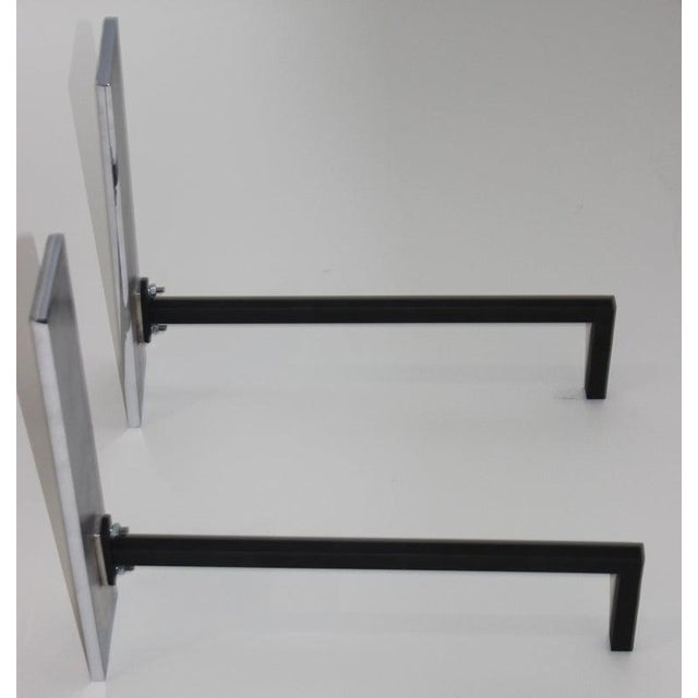 2010s Nickel-Plated Andirons in the Style of Danny Allesandro - the Pair For Sale - Image 5 of 8