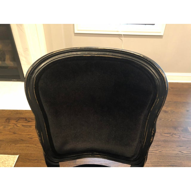 Traditional French Black Velvet Side Chairs - a Pair For Sale In Chicago - Image 6 of 10