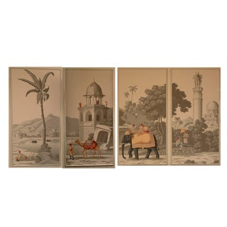 DeGournay Early Views of India Framed Panels - Set of 4 For Sale