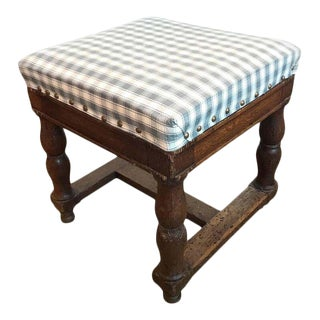 Vintage French Upholstered Ottoman For Sale