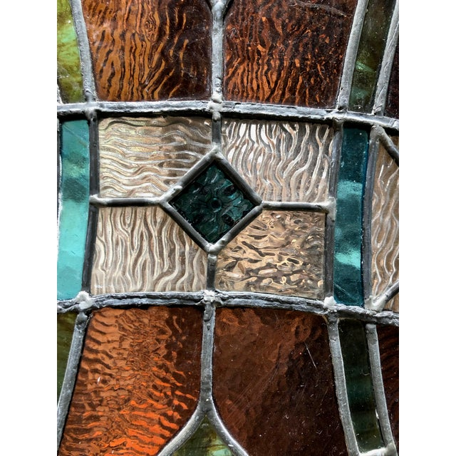 1960s Vintage Framed Square Stained Glass For Sale In Sacramento - Image 6 of 12