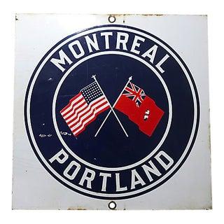 1930s Vintage Portland Maine Shipping Line Port Sign