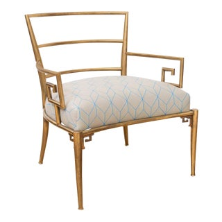 Brass Italian Greek Key Armchair For Sale