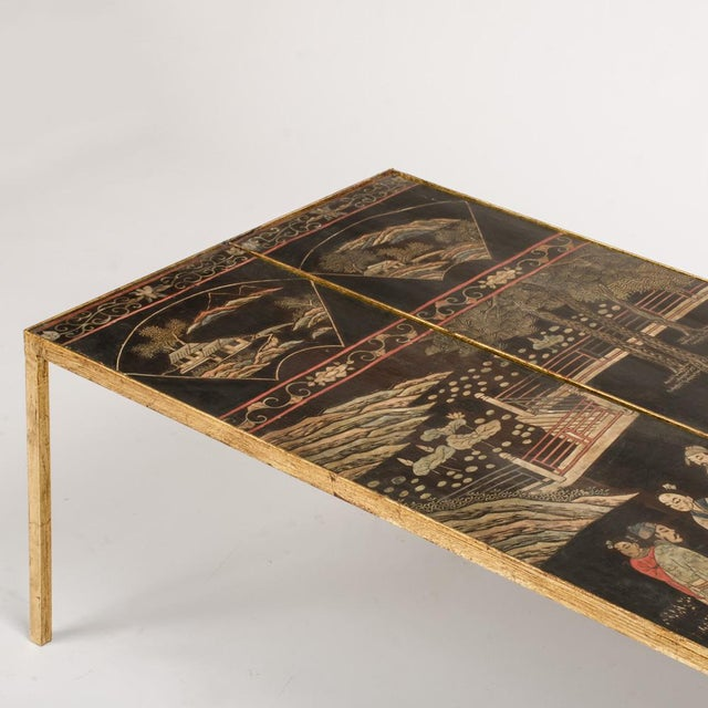 Mid 20th Century Vintage Chinoiseries Top Coffee Table With Leather Trim For Sale - Image 5 of 11
