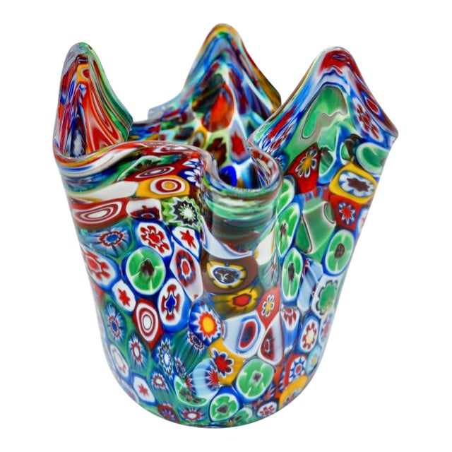 Vintage Murano Multicolored Millefiori Handkerchief Vase For Sale