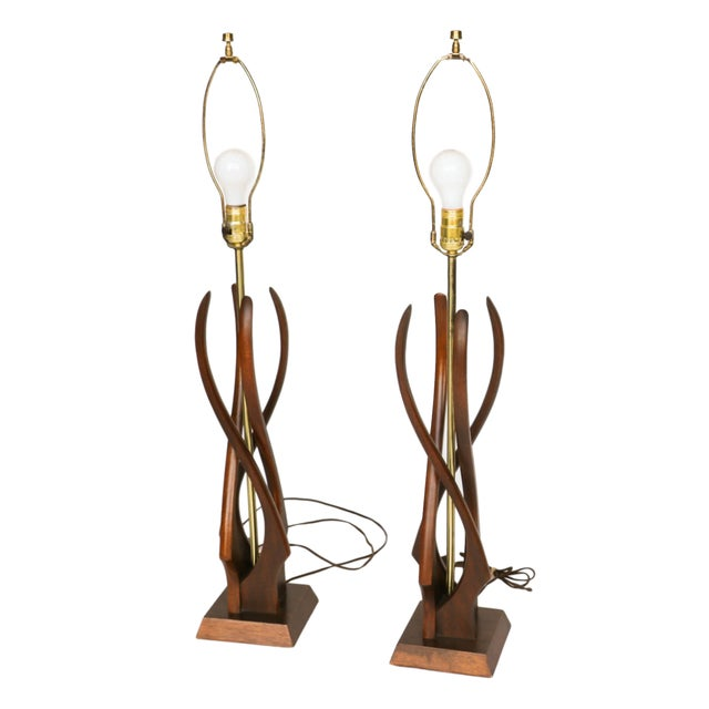 Pair Mid Century Sculptural Teak Wood Lamps - Image 4 of 9