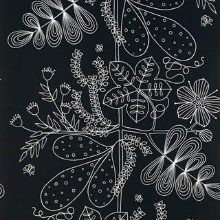 Sample - Schumacher Blommen Wallpaper in Ebony Preview