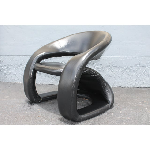 Mid-Century Modern Vintage Mid Century Modern Futuristic Black Leather Club Chair For Sale - Image 3 of 11