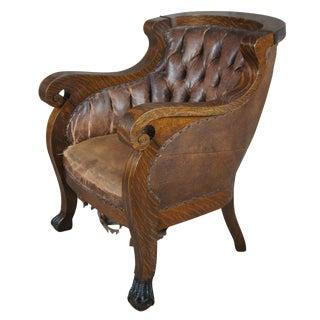 Victorian American Empire Quartersawn Oak Gentleman's Arm Chair Ball & Claw Feet For Sale