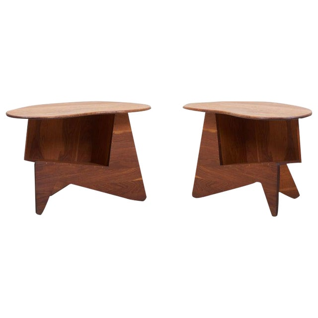 Pair of Wooden Mid-Century Modern Studio Side Tables, Us For Sale