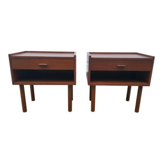 Mid Century Hans Wegner Danish Teak Nightstands- A Pair For Sale