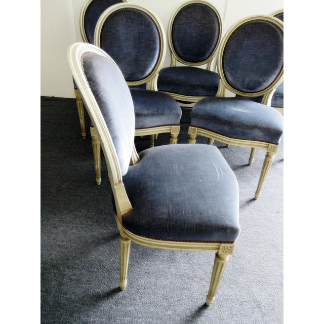 Louis XVI Vintage Mid Century Louis XVI Style Dining Chairs- Set of 6 For Sale - Image 3 of 9