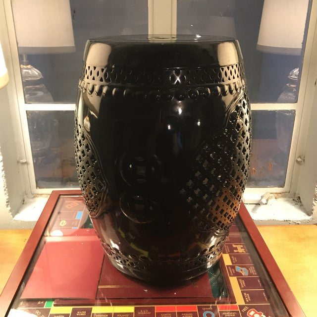 Black Asian Porcelain Stool - Image 8 of 8