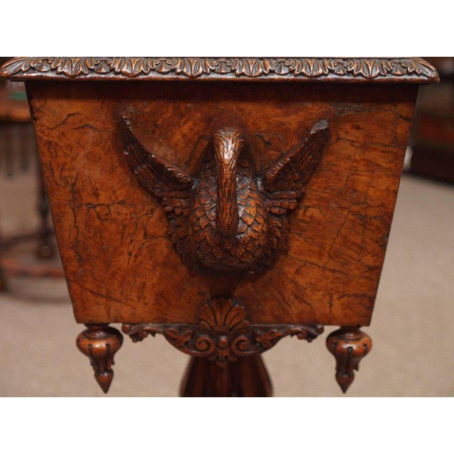 Antique English 19th Century Carved Burled Walnut Tea Poy For Sale In New Orleans - Image 6 of 9