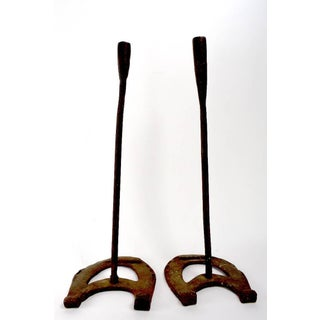 Vintage Rustic Horseshoe Wrought Iron Candlesticks - a Pair Preview