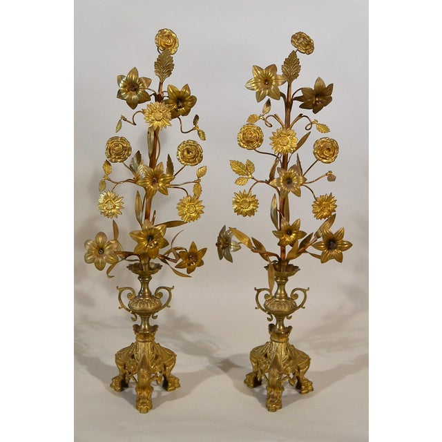 Late 19th Century Pair Antique French Gold Bronze Floral Candelabra For Sale - Image 5 of 5