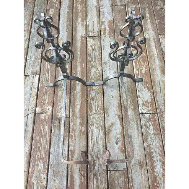 Metal Wrought Iron Fire Dogs - A Pair For Sale - Image 7 of 11