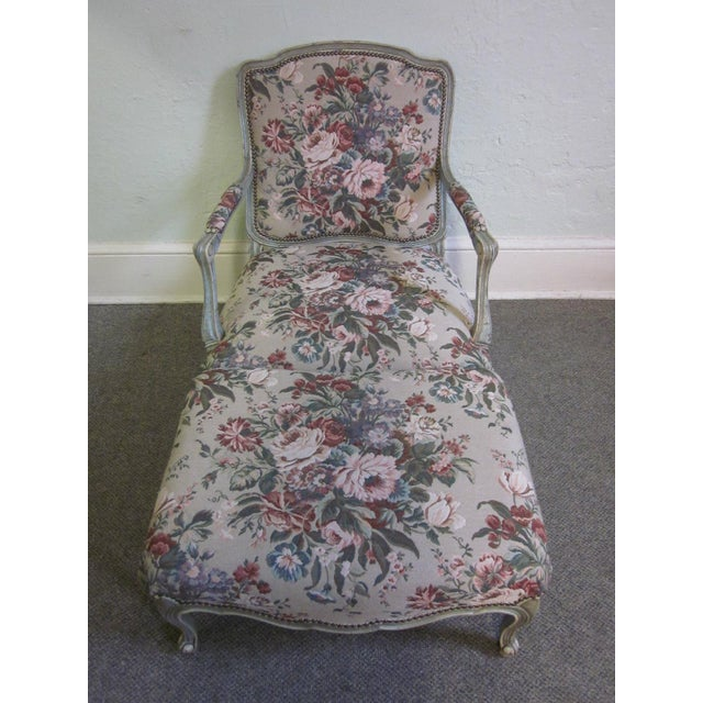 Stoneleigh Ltd. Louis XV Fauteuil Chair & Ottoman For Sale - Image 10 of 10