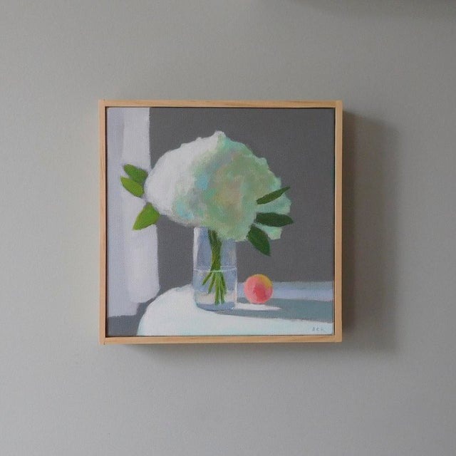 White Hydrangea have a subtle grace that I enjoy painting. This painting is 8x 8 inches, acrylic on primed canvas, framed...