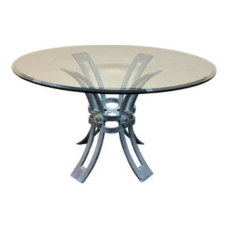 Copper Pedestal Base + Glass Top Dining Table For Sale