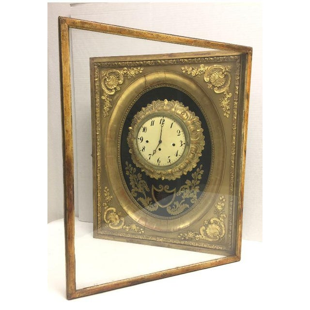 19th Century French Gilt Wall Clock in Shadow Box For Sale - Image 4 of 13