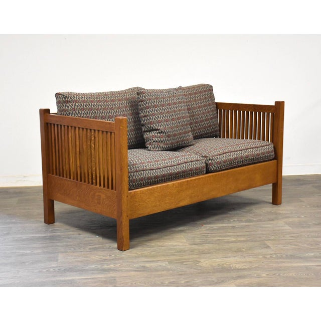 Gustav Stickley Spindled Cube Settee For Sale - Image 11 of 11