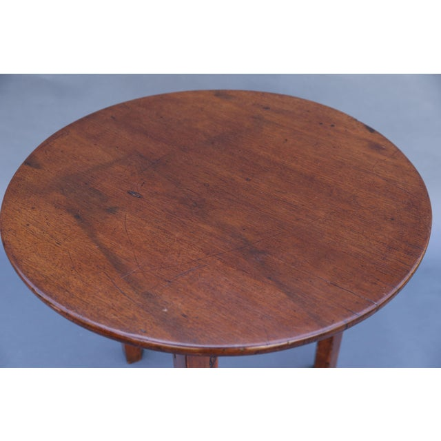 Pink Antique English Chestnut Cricket Table, One Board Top For Sale - Image 8 of 9
