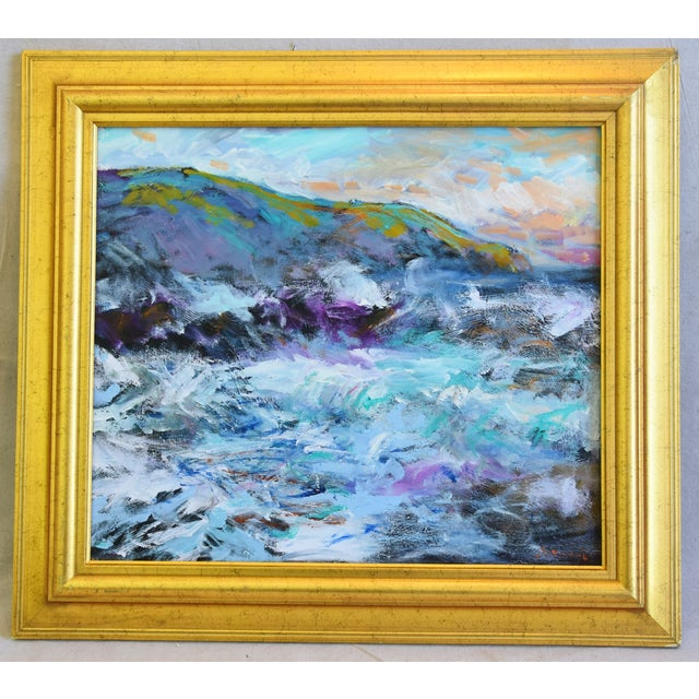 Oil Paint Juan Pepe Guzman California Crashing Ocean Waves Oil Painting For Sale - Image 7 of 9