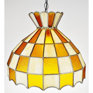 Vintage Tiffany Style Leaded Glass Chandelier Pendant Light Preview